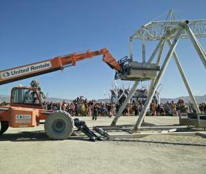 That one time when I was famous at Burning Man. Cocking the counter weight to the trebuchet